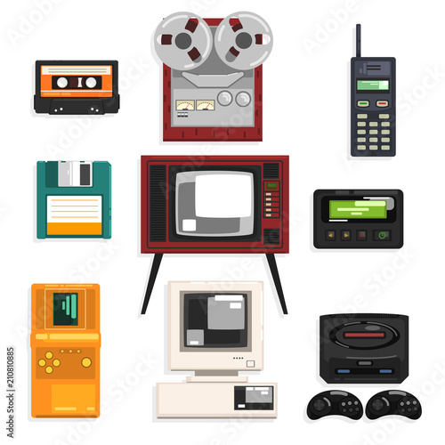 Collection of retro technique, audio music cassette, reel recorder