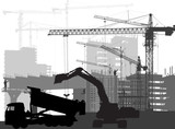 black digger in front of buildings and cranes - 210815648