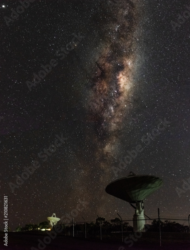 Aluminium Heelal Milky Way Over Radio Telescope