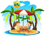 Children Enjoy Lunch at the Beach