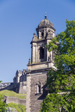 One of the domed towers of St Cuthbert's Parish Church, Edinburgh, Scotland, UK.  The building in the background is the famous Edinburgh Castle. - 210828683