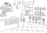 Flower shop interior graphic black white sketch illustration vector - 210831271