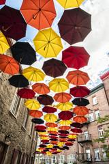 Lot of Umbrellas in Petit Champlain street Quebec city, Canada