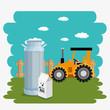 tractor in the farm scene vector illustration design