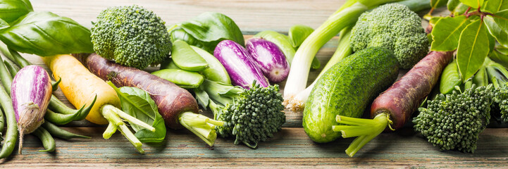 Fresh raw vegetables background Healthy food concept with copy space. Banner.