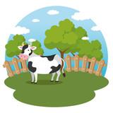 cows in the farm scene vector illustration design