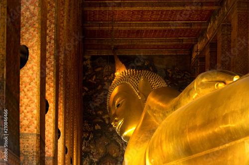 Plexiglas Bangkok Reclining Buddha at Wat Pho, Bangkok, Thailand.