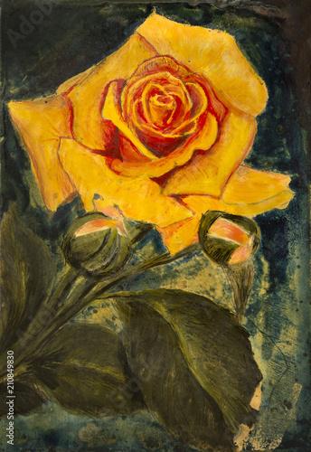 Yellow rose - Still Life - oil on Traditional Italian roof tile © Akiko Nuru