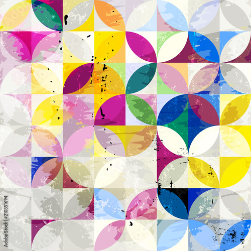Aluminium Abstract met Penseelstreken abstract geometric background pattern, retro/vintage style, with circles, strokes and splashes