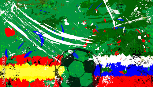 Aluminium Abstract met Penseelstreken Spain vs. russia soccer / football vector art, with grunge style.