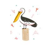 Hand drawn vector abstract cartoon summer time graphic decoration illustrations art with exotic marine pelican bird isolated on white background - 210861240