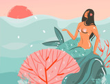 Hand drawn vector abstract cartoon summer time graphic illustrations art template background with ocean sunset scene,beauty mermaid girl isolated on blue waves - 210861295
