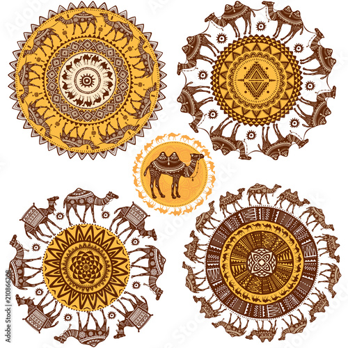 Fototapeta Set of Round Ornament Pattern with camels