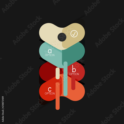 Flat design geometric infographics, arrow shape vector sticker or label, price tags, offer promotion badge, icon design, paper style layout for data graphic visualization step by step process, for - 210873409