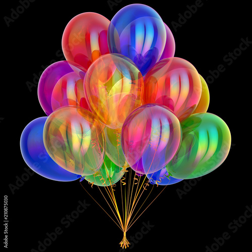 balloons bunch party decoration multicolored. colorful birthday decoration. carnival festive varicoloured symbol. 3d illustration, isolated on black