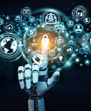 White robot hand using cyber security data interface 3D rendering
