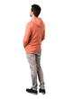 Full body of  Man in a pink sweatshirt looking back on isolated white background. Ideal for use in architectural designs