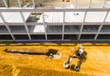 Aerial view of construction site. Industrial theme from drone. Industry, development and investment in European Union. - 210886004