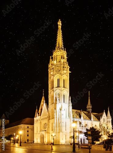 St. Matthias Church in Budapest at night
