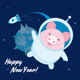 Pig in a space suit in space on the background of the rocket and the planet. Symbol of the new year in the Chinese calendar. 2019. Vector. Illustration for postcards, stickers, posters - 210892847