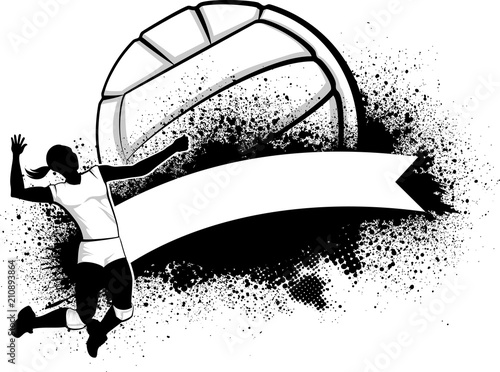 Fototapeta Female Volleyball Grunge Banner