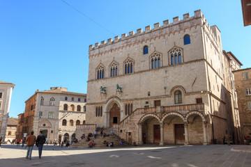 Palazzo dei Priori in Piazza IV Novembre (square) in Perugia, Umbria, Italy