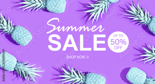 Summer sale with painted pineapples on a vivid purple background - 210895649