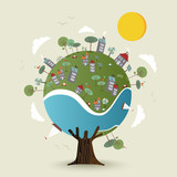 Green planet earth tree with sustainable city - 210899878