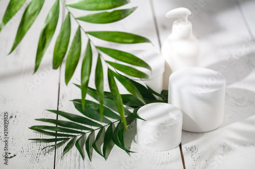 Natural cosmetics and leaves on table - 210899825