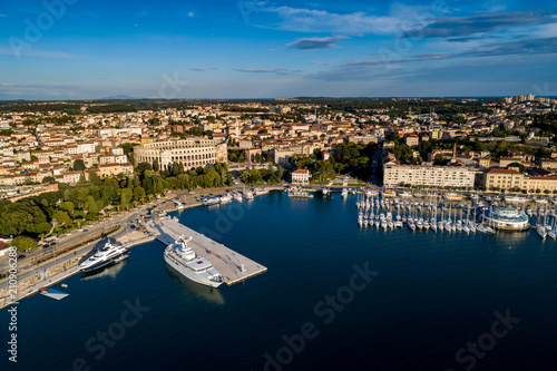 City of Pula aerial view from above the sea by a professional drones, Istria, Croatia.