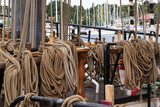ropes on an historic sailing ship, travel adventures on the sea - 210908813