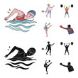 Swimming, badminton, weightlifting, artistic gymnastics. Olympic sport set collection icons in cartoon,black style vector symbol stock illustration web.