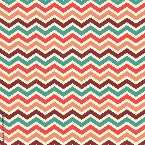 Fototapeta retro chevron striped background wallpaper vector in vintage color palette of blue red peach beige and wine, elegant herringbone or zig zag pattern