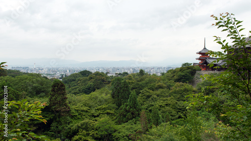 View of Kyoto city landscape from hills of Kiyomizudera temple