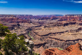 Panoramic view of the Grand Canyon, looking westward from the South Rim; the Colorado River can be seen below.  - 210923640