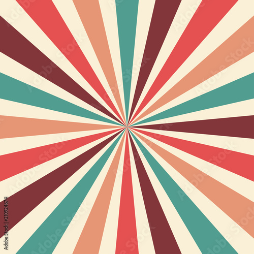 Fototapeta retro sunburst background vector pattern with a vintage color palette of burgundy red pink peach teal blue and beige white in a radial striped design with nostalgic style