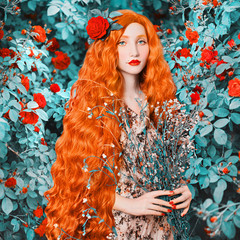 Young redhead renaissance woman in flower dress on rose background. A beautiful girl with pale skin, red lips and blue eyes. Renaissance princess in a spring garden with flowers in hands © iiievgeniy