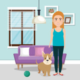 young woman with mascot in the house vector illustration design