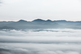 sea of clouds over the forest, Black and white tones in minimalist photography - 210936885