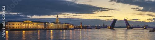 Saint Petersburg panorama sunrise city skyline at Palace Bridge, Saint Petersburg, Russia