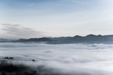 sea of clouds over the forest, Black and white tones in minimalist photography - 210937499