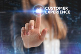 The concept of business, technology, the Internet and the network. A young entrepreneur working on a virtual screen of the future and sees the inscription: Customer experience - 210940016