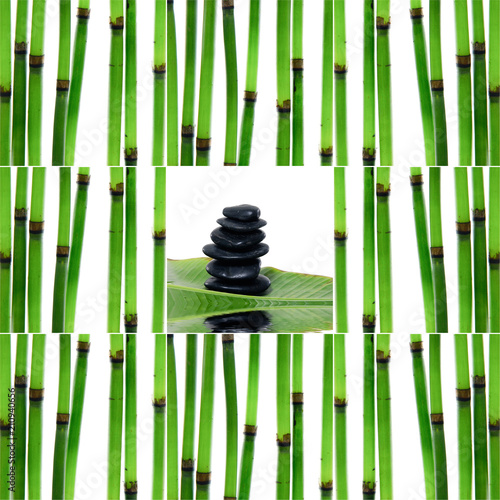 Aluminium Spa Collage of with young bamboo sticks with stacked stones with leaf