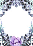 Floral Frame with Watercolor Black Berries and Pink Flower - 210944850