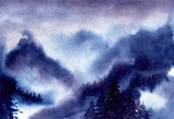 Watercolor Landscape with Misty Mountains - 210944872