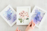 creative leisure. painting hobby. artful personality. talented watercolor abstract drawings and picture of a rose