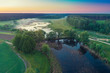 Early morning, wilderness. Aerial view of countryside and river
