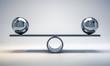 Leinwandbild Motiv chrome balls on a scale