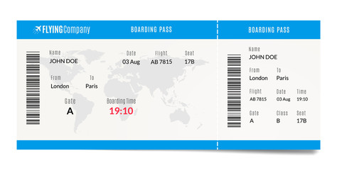 Airplane boarding pass design. Plane travel ticket illustration. Air admission template.