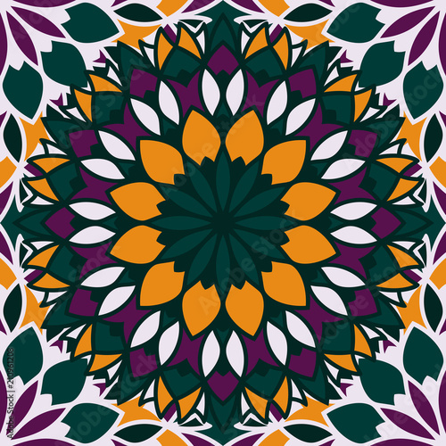 Seamless pattern islamic ornament. Floral textile print. Moroccan vector design. Oriental background with mandalas. Stained glass vitrage. - 210961208